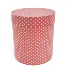 Коробка подарочная, Цилиндр, Бежевые точки, Розовый, 21*21*23 см, 1 шт.