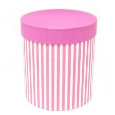 Коробка подарочная Цилиндр, Белые полоски, Розовый, 21*21*23 см, 1 шт.