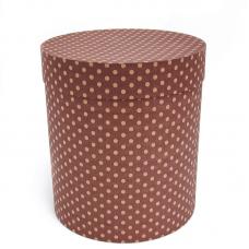 Коробка подарочная Цилиндр, Бежевые точки, Коричневый, 21*21*23 см, 1 шт.