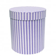 Коробка подарочная Цилиндр, Белые полоски, Сиреневый, 21*21*23 см, 1 шт.