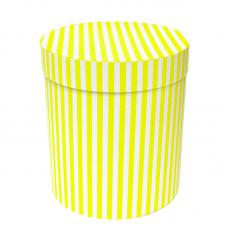 Коробка подарочная Цилиндр, Белые полоски, Желтый, 21*21*23 см, 1 шт.