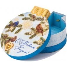 Коробка подарочная С Новым Годом! (зимние птицы), Голубой, 20*18*7 см, 1 шт.