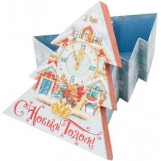 Коробка подарочная Елочка, С Новым Годом! (часы), Голубой, 21*19*9 см, 1 шт.