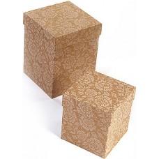 Набор коробок Цветочное кружево, Крафт, 13*13*17 см, 2 шт.