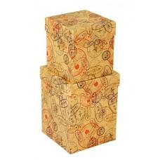 Набор коробок Печати и штампы, Крафт, 13*13*17 см, 2 шт.