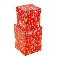 Набор коробок Новогодние подарки, Красный, 13*13*17 см, 2 шт.