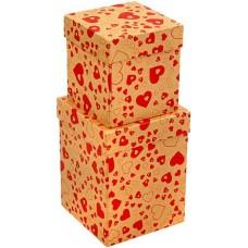 Набор коробок Влюбленные сердца, Крафт, 13*13*17 см, 2 шт.