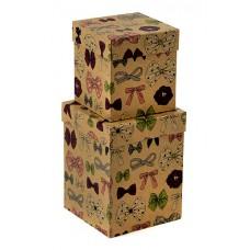 Набор коробок Бантики, Крафт, 13*13*7 см, 2 шт.