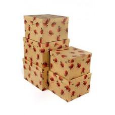Набор коробок, Бутоны роз, Крафт, 30*30*20 см, 5 шт.