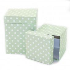 Набор коробок Белые точки, Мятный, 13*13*17 см, 2 шт.