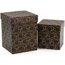Набор коробок Золотые грани, Черный, 13*13*7 см, 2 шт.