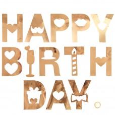 Гирлянда Happy Birthday (резные сердца), Розовое Золото, Металлик, 180 см, 1 шт.