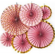 Набор дисков Микс дизайнов, Розовый/Золото, Металлик, 40 см, 6 шт.