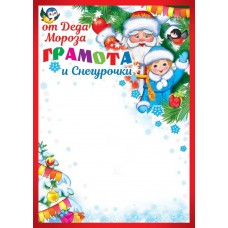 Грамота Новогодняя от Деда Мороза и Снегурочки, 19,4 х 20,6 см, 1 шт