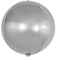 Шар (15''/38 см) Мини-сфера 3d, Серебро, 1 шт.
