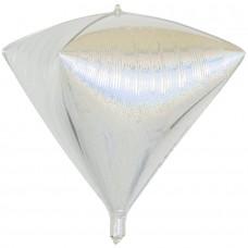 Шар 3D (24''/61 см) Алмаз, Серебро, Голография, 1 шт.