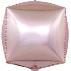 Шар 3D (24''/61 см) Куб, Розовое Золото, 1 шт.