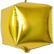 Шар 3D (24''/61 см) Куб, Золото, 1 шт.