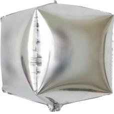 Шар 3D (24''/61 см) Куб, Серебро, 1 шт.