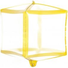 Шар 3D (20''/51 см) Куб, Золотые грани, Прозрачный, 1 шт.