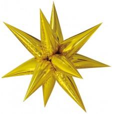 Шар (26''/66 см) Фигура, Звезда составная, Золото, 1 шт. в упак.
