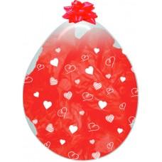 Шар для упаковки (18''/46 см) Сердца, Прозрачный (390), кристалл, 5 ст, 25 шт.