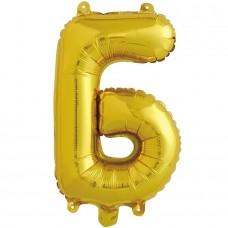 Шар с клапаном (16''/41 см) Мини-буква, Б, Золото, 1 шт. в упак.