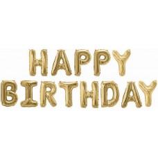 """Набор шаров-букв (16''/41 см) Мини-Надпись """"Happy Birthday"""", Золото, 1 шт. в упак."""