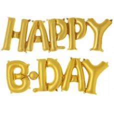 """Набор шаров-букв (14''/36 см) Мини-Надпись """"Happy B-Day"""", Золото, 1 шт."""