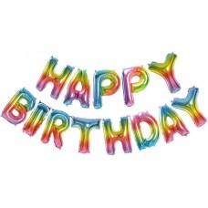 """Набор шаров-букв (14''/36 см) Мини-Надпись """"Happy Birthday"""", Радужный, Градиент, 1 шт. в упак."""