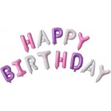 "Набор шаров-букв (16''/41 см) Мини-Надпись ""Happy Birthday"" для девочки, 1 шт. в упак."