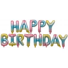 """Набор шаров-букв (16''/41 см) Мини-Надпись """"Happy Birthday"""", Нежная радуга, Градиент, 1 шт. в упак."""