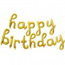 """Набор шаров-букв (17''/43 см) Мини-Надпись """"Happy Birthday"""" (курсив), Золото, 1 шт. в упак."""