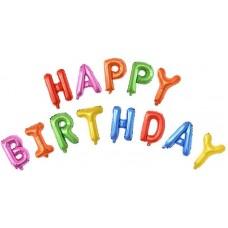 """Набор шаров-букв (16''/41 см) Мини-Надпись """"Happy Birthday"""", Ассорти, 1 шт. в упак."""