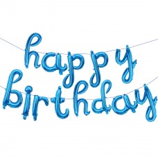 """Набор шаров-букв (17''/43 см) Мини-Надпись """"Happy Birthday"""" (курсив), Голубой, 1 шт. в упак."""