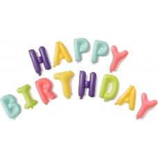 "Набор шаров-букв (16''/41 см) Мини-Надпись ""Happy Birthday"", Макарунс, Ассорти, 1 шт. в упак."