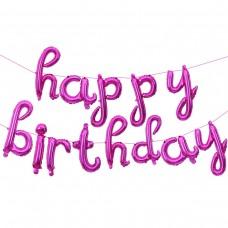 """Набор шаров-букв (17''/43 см) Мини-Надпись """"Happy Birthday"""" (курсив), Розовый, 1 шт. в упак."""