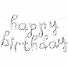 "Набор шаров-букв (17''/43 см) Мини-Надпись ""Happy Birthday"" (курсив), Серебро, 1 шт. в упак."