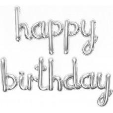 "Набор шаров (17''/43 см) Мини-Надпись ""Happy Birthday"", Серебро, 1 шт. в упак."