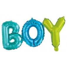 """Шар (27''/69 см) Фигура, Надпись """"Boy"""", Разноцветный, 1 шт."""