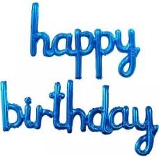 "Набор шаров (17''/43 см) Мини-Надпись ""Happy Birthday"", Синий, 1 шт. в упак."