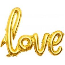 "Шар (41''/104 см) Фигура, Надпись ""Love"", Золото, 1 шт."