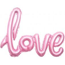 "Шар (41''/104 см) Фигура, Надпись ""Love"", Розовый, 1 шт."