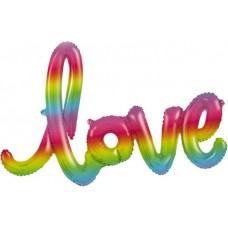 """Шар (48''/122 см) Фигура, Надпись """"Love"""", Радужный, Градиент, 1 шт."""