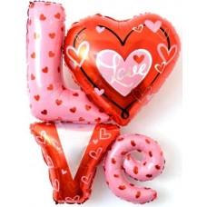 """Шар (41''/104 см) Фигура, Надпись """"LOVE"""" с сердечками , 1 шт."""