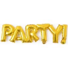 """Шар (42''/107 см) Фигура, Надпись """"Party"""", Золото, 1 шт."""
