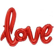 """Шар (41''/104 см) Фигура, Надпись """"Love"""", Красный, 1 шт."""