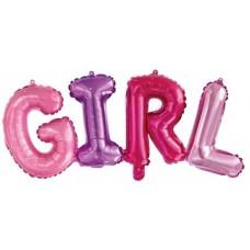 """Шар (43''/109 см) Фигура, Надпись """"Girl"""", Разноцветный, 1 шт."""