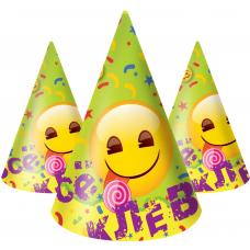 Колпаки Смайл, Emoji, Желтый, 6 шт.