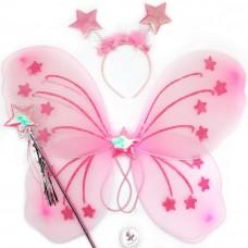 Набор Звездочка (крылья, ободок, волшебная палочка), Розовый